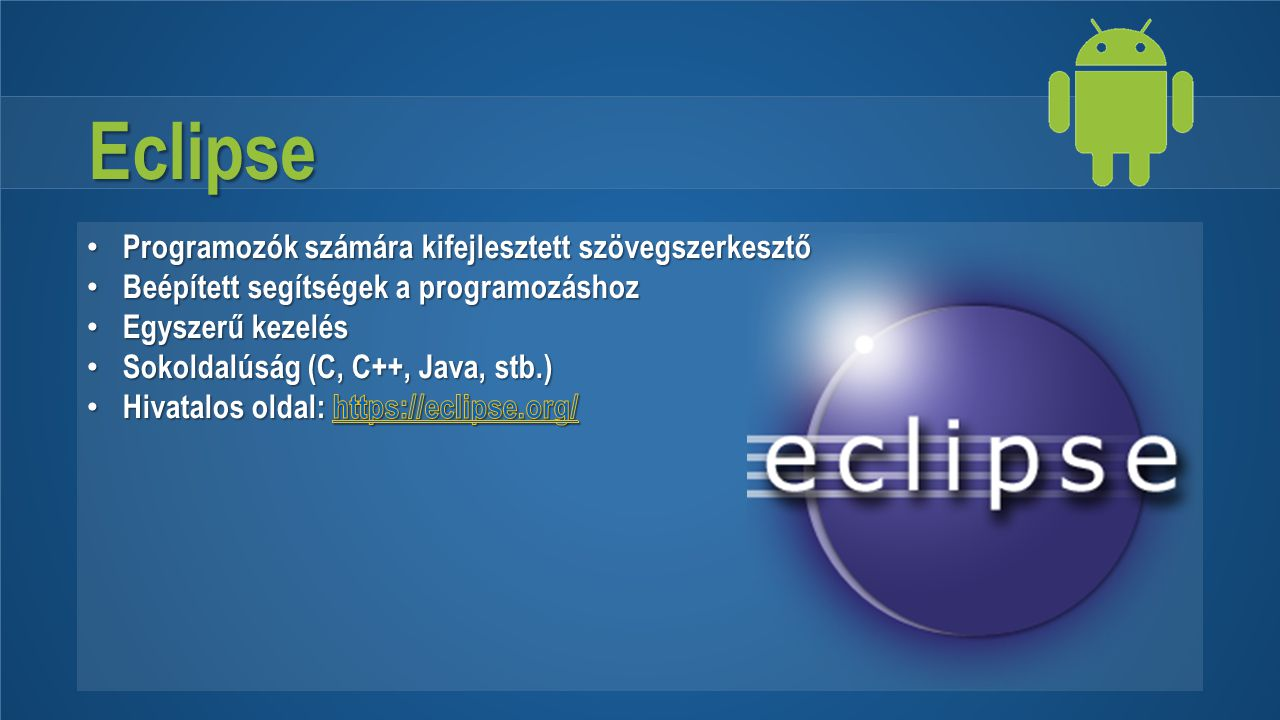Eclipse Programozók számára kifejlesztett szövegszerkesztő