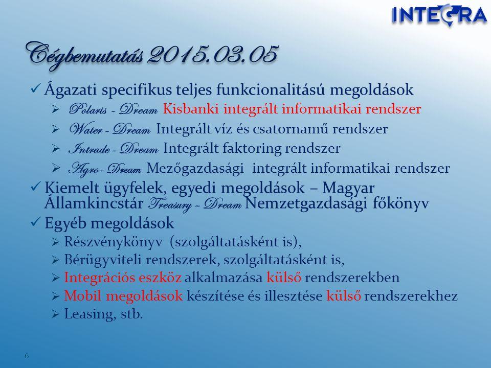 Cégbemutatás 2015.03.05 Ágazati specifikus teljes funkcionalitású megoldások. Polaris - Dream Kisbanki integrált informatikai rendszer.