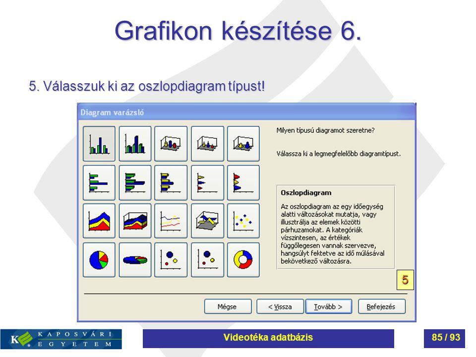 Grafikon készítése 6. 5. Válasszuk ki az oszlopdiagram típust! 5