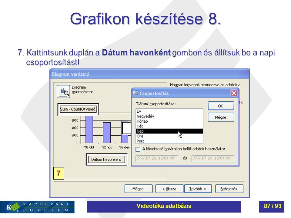 Grafikon készítése 8. 7. Kattintsunk duplán a Dátum havonként gombon és állítsuk be a napi csoportosítást!