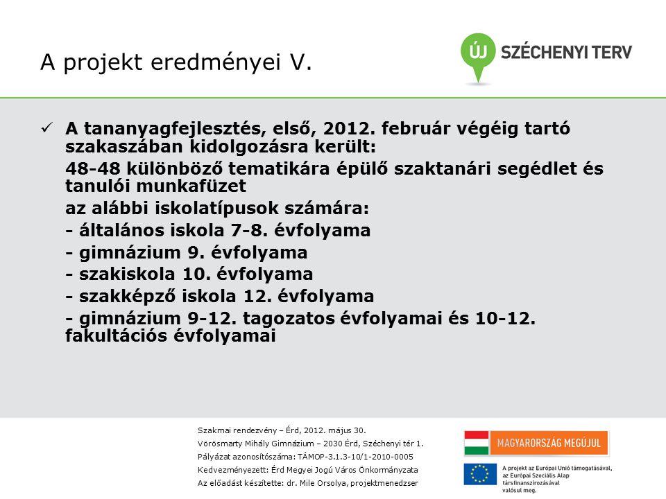 A projekt eredményei V. A tananyagfejlesztés, első, 2012. február végéig tartó szakaszában kidolgozásra került: