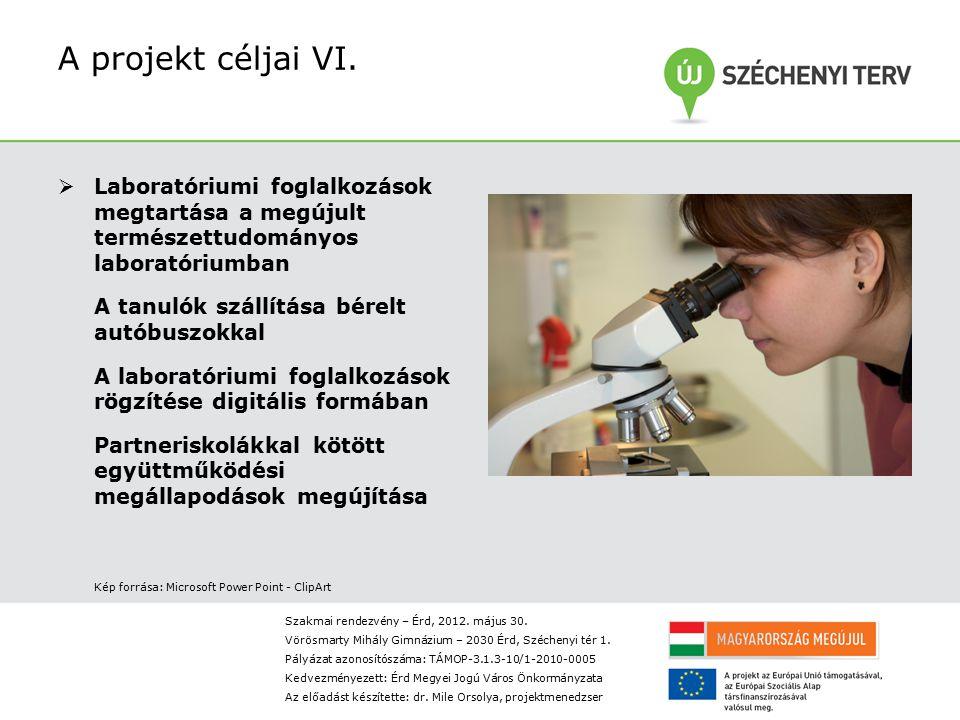 A projekt céljai VI. Laboratóriumi foglalkozások megtartása a megújult természettudományos laboratóriumban.