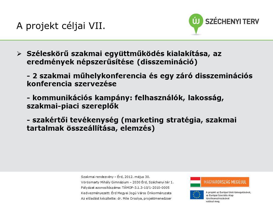 A projekt céljai VII. Széleskörű szakmai együttműködés kialakítása, az eredmények népszerűsítése (disszemináció)
