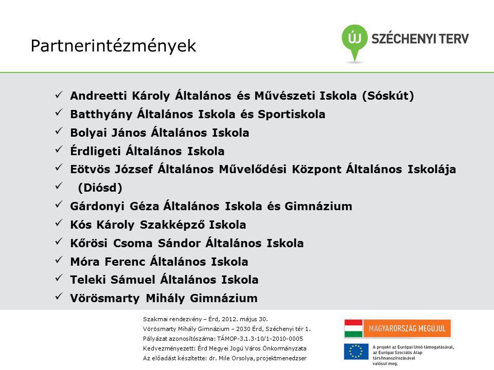 Partnerintézmények Andreetti Károly Általános és Művészeti Iskola (Sóskút) Batthyány Általános Iskola és Sportiskola.