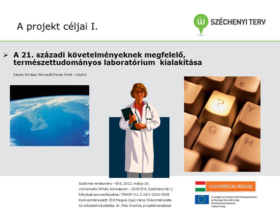A projekt céljai I. A 21. századi követelményeknek megfelelő, természettudományos laboratórium kialakítása.