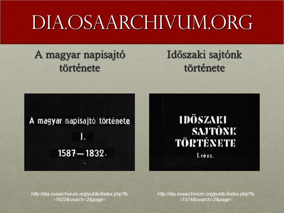 dia.osaarchivum.org A magyar napisajtó története