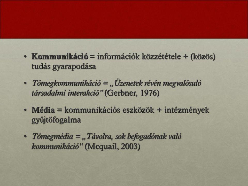 Kommunikáció = információk közzététele + (közös) tudás gyarapodása