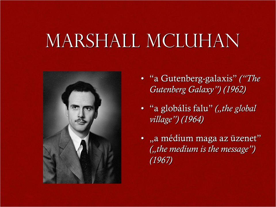Marshall MCLuhan a Gutenberg-galaxis ( The Gutenberg Galaxy ) (1962)