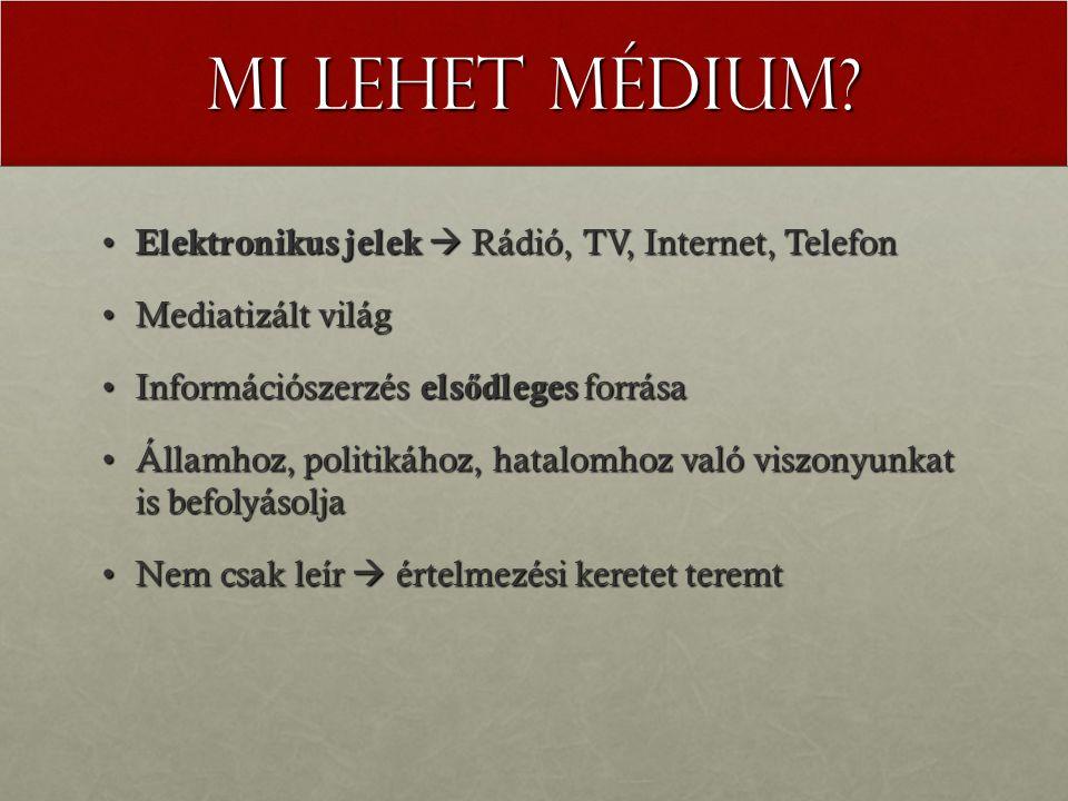 Mi lehet médium Elektronikus jelek  Rádió, TV, Internet, Telefon