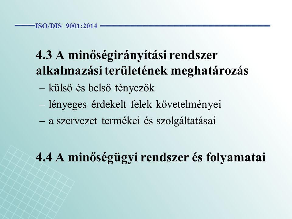 4.3 A minőségirányítási rendszer alkalmazási területének meghatározás