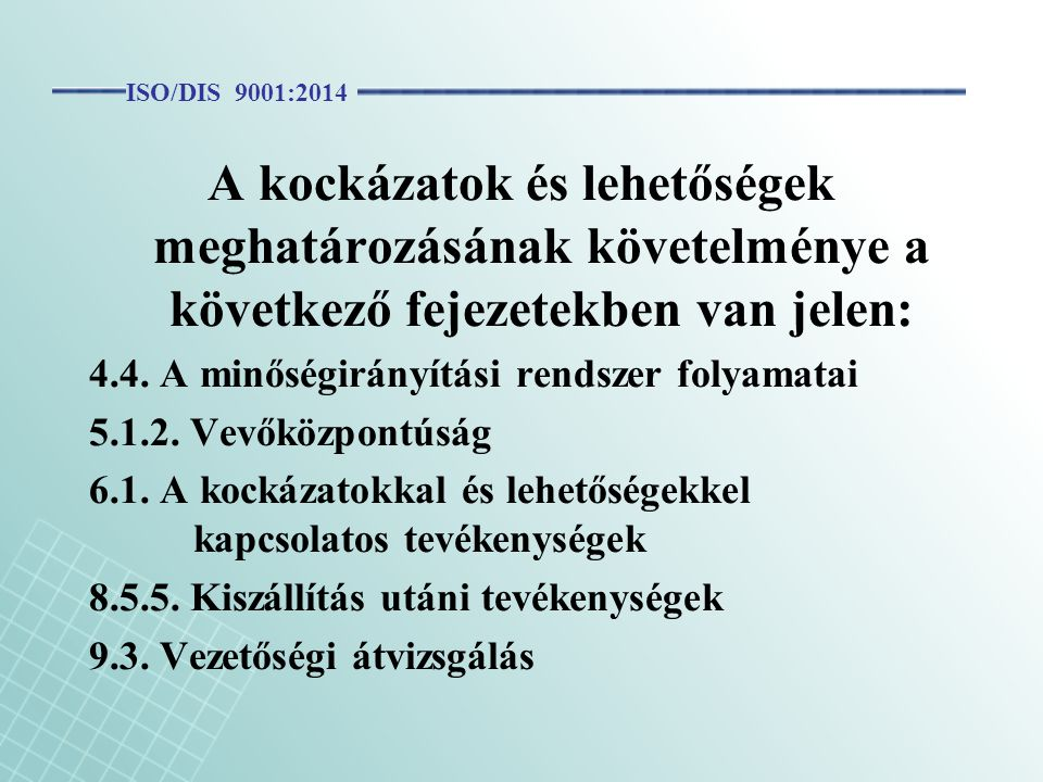 ISO/DIS 9001:2014 A kockázatok és lehetőségek meghatározásának követelménye a következő fejezetekben van jelen:
