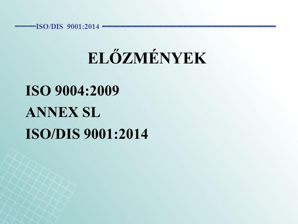 ISO/DIS 9001:2014 ELŐZMÉNYEK ISO 9004:2009 ANNEX SL ISO/DIS 9001:2014