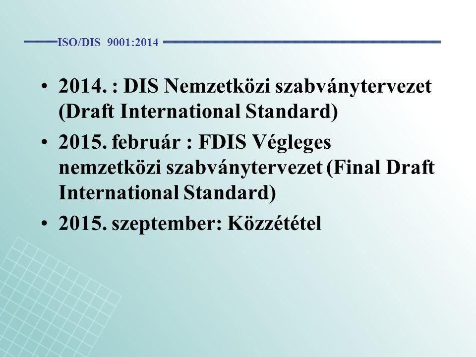 2014. : DIS Nemzetközi szabványtervezet (Draft International Standard)