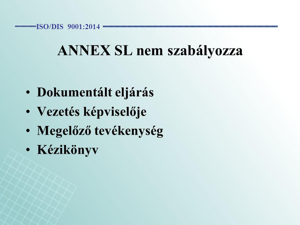 ANNEX SL nem szabályozza