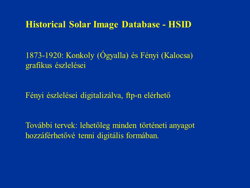 Historical Solar Image Database - HSID