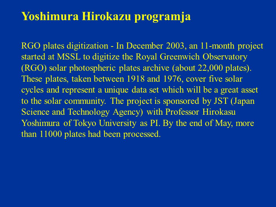Yoshimura Hirokazu programja