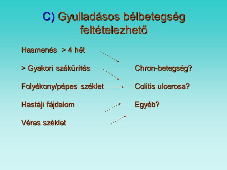 C) Gyulladásos bélbetegség feltételezhető