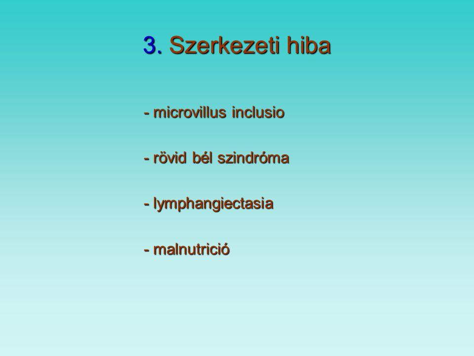 3. Szerkezeti hiba - microvillus inclusio - rövid bél szindróma