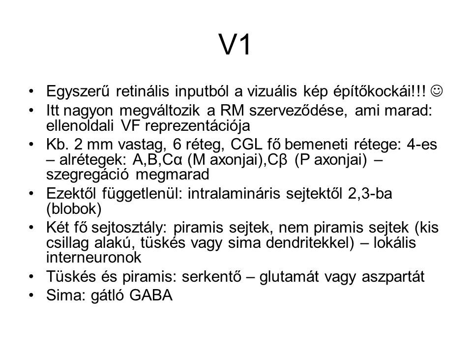 V1 Egyszerű retinális inputból a vizuális kép építőkockái!!! 