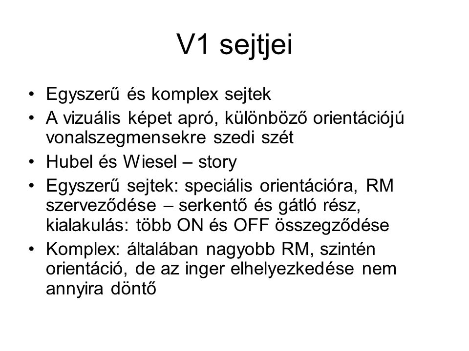 V1 sejtjei Egyszerű és komplex sejtek