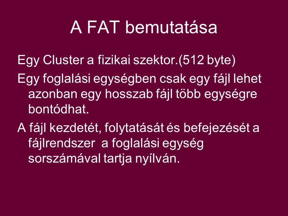 A FAT bemutatása Egy Cluster a fizikai szektor.(512 byte)