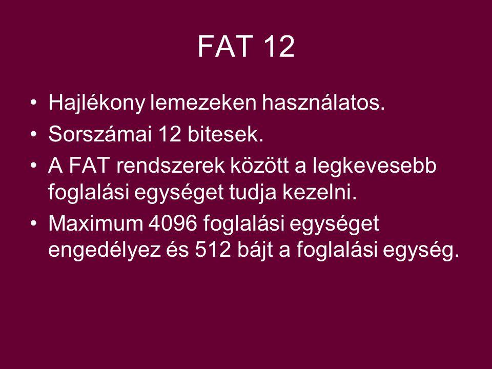 FAT 12 Hajlékony lemezeken használatos. Sorszámai 12 bitesek.