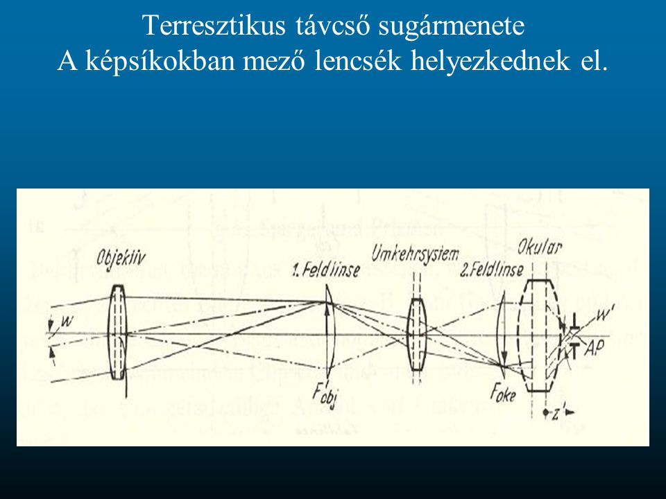Terresztikus távcső sugármenete A képsíkokban mező lencsék helyezkednek el.