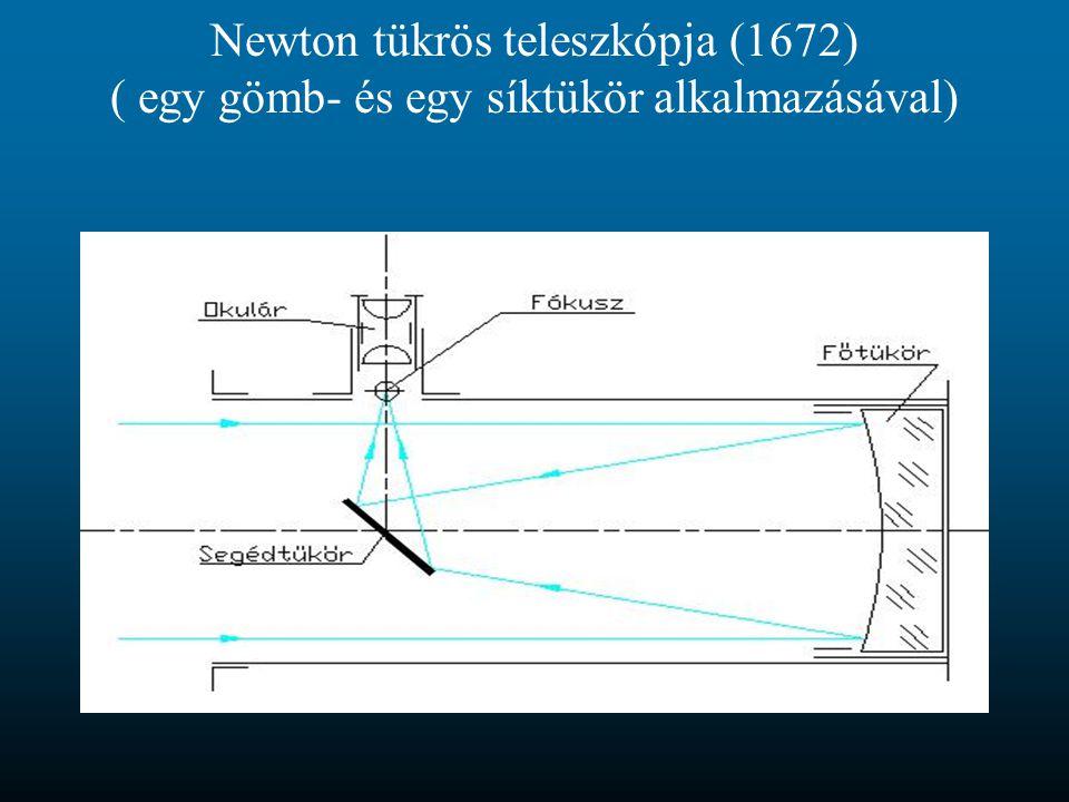 Newton tükrös teleszkópja (1672) ( egy gömb- és egy síktükör alkalmazásával)