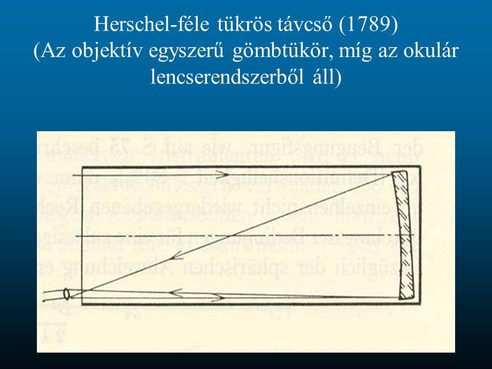 Herschel-féle tükrös távcső (1789) (Az objektív egyszerű gömbtükör, míg az okulár lencserendszerből áll)