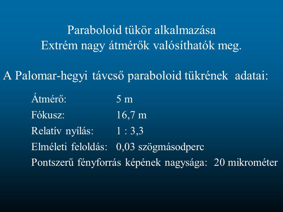 Paraboloid tükör alkalmazása Extrém nagy átmérők valósíthatók meg.