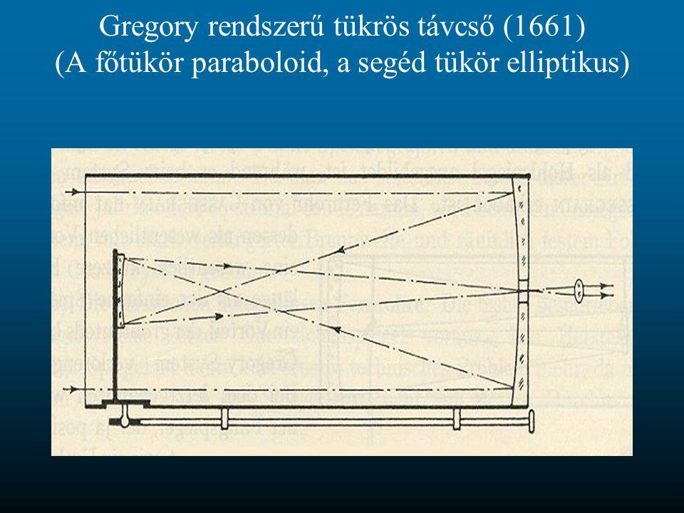 Gregory rendszerű tükrös távcső (1661) (A főtükör paraboloid, a segéd tükör elliptikus)