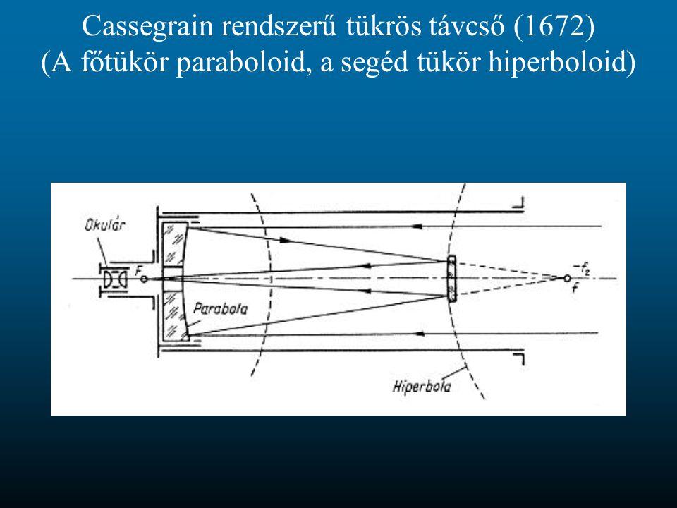 Cassegrain rendszerű tükrös távcső (1672) (A főtükör paraboloid, a segéd tükör hiperboloid)