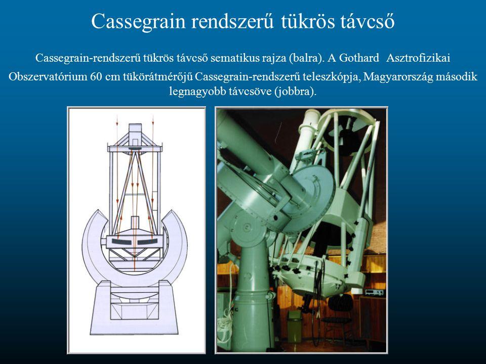 Cassegrain rendszerű tükrös távcső Cassegrain-rendszerű tükrös távcső sematikus rajza (balra).