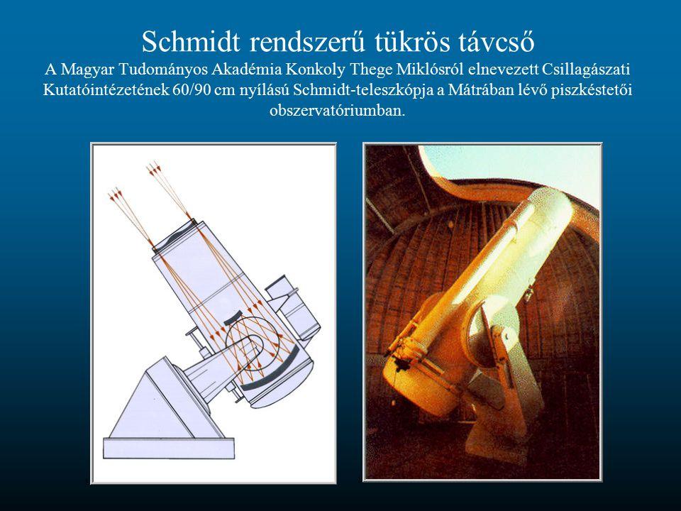 Schmidt rendszerű tükrös távcső A Magyar Tudományos Akadémia Konkoly Thege Miklósról elnevezett Csillagászati Kutatóintézetének 60/90 cm nyílású Schmidt-teleszkópja a Mátrában lévő piszkéstetői obszervatóriumban.