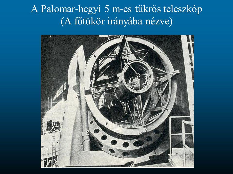 A Palomar-hegyi 5 m-es tükrös teleszkóp (A főtükör irányába nézve)