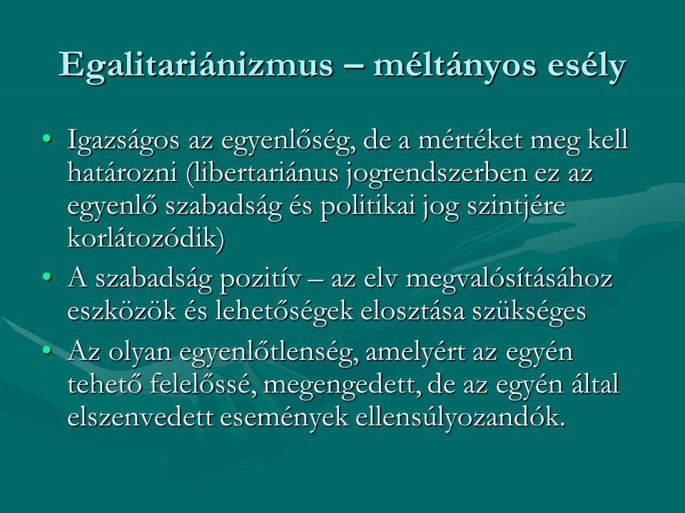 Egalitariánizmus – méltányos esély
