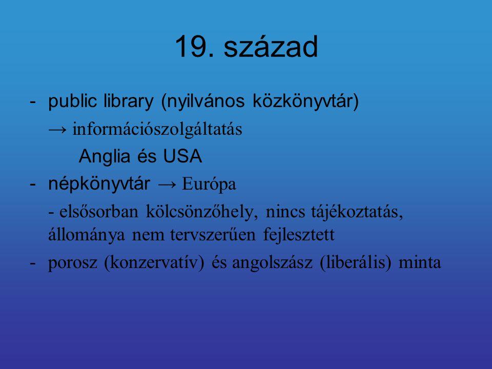 19. század public library (nyilvános közkönyvtár)