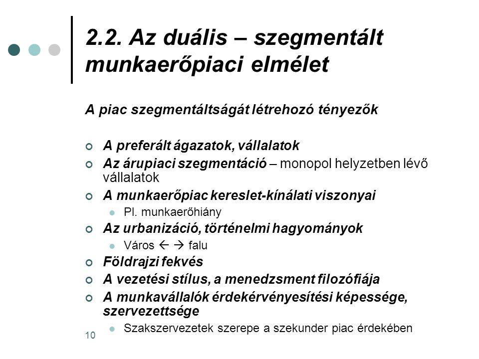 2.2. Az duális – szegmentált munkaerőpiaci elmélet
