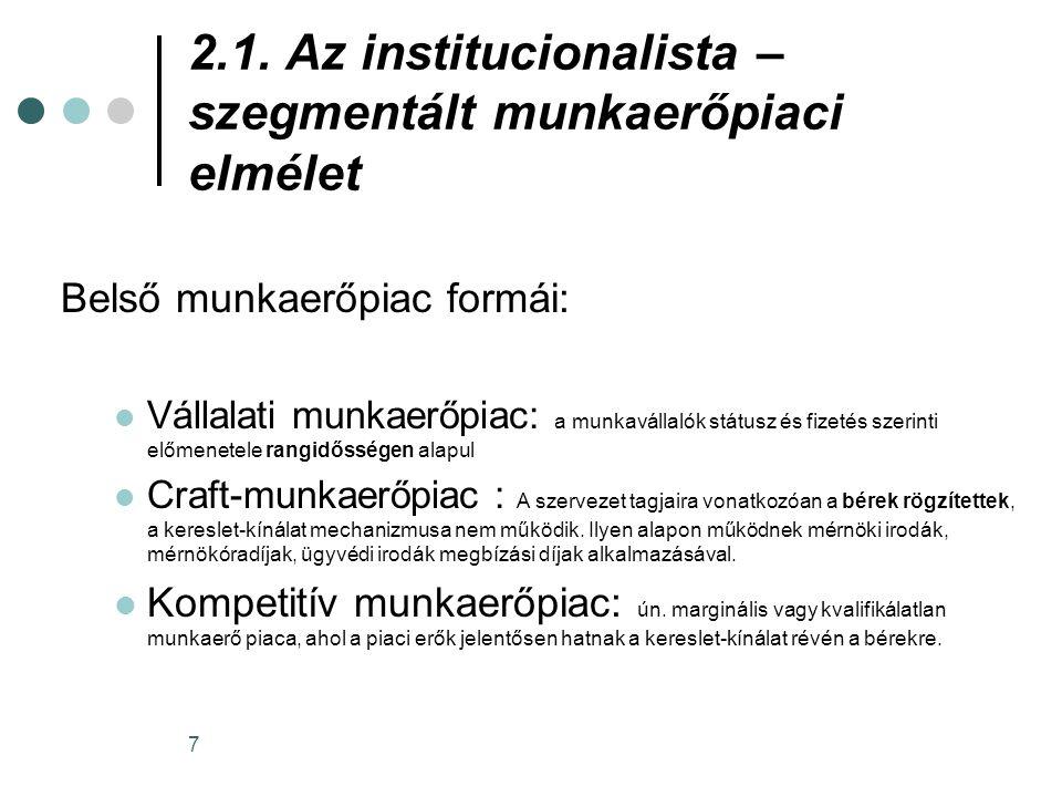 2.1. Az institucionalista – szegmentált munkaerőpiaci elmélet