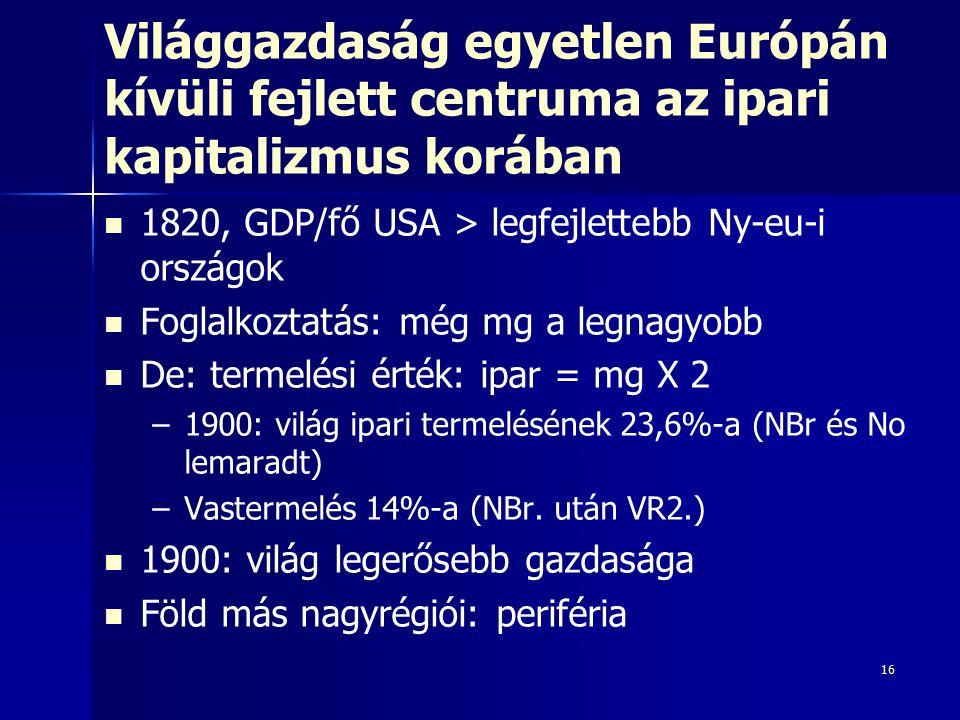 Világgazdaság egyetlen Európán kívüli fejlett centruma az ipari kapitalizmus korában