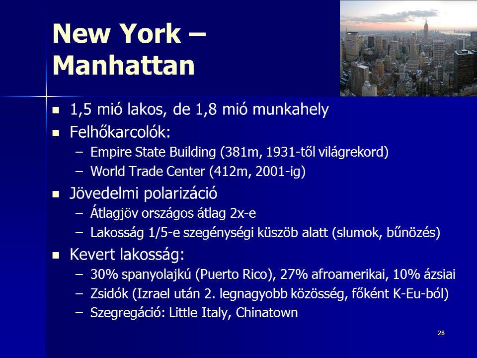 New York – Manhattan 1,5 mió lakos, de 1,8 mió munkahely