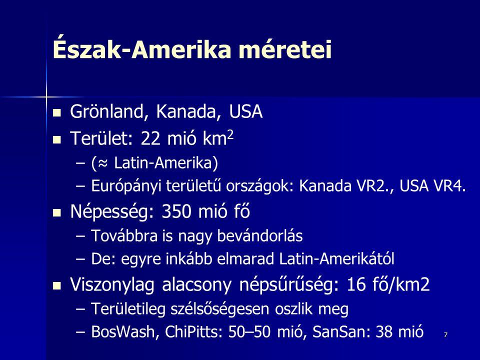 Észak-Amerika méretei