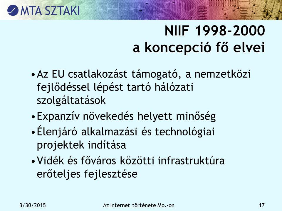 NIIF 1998-2000 a koncepció fő elvei