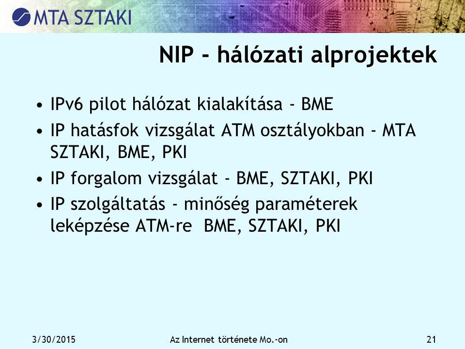 NIP - hálózati alprojektek