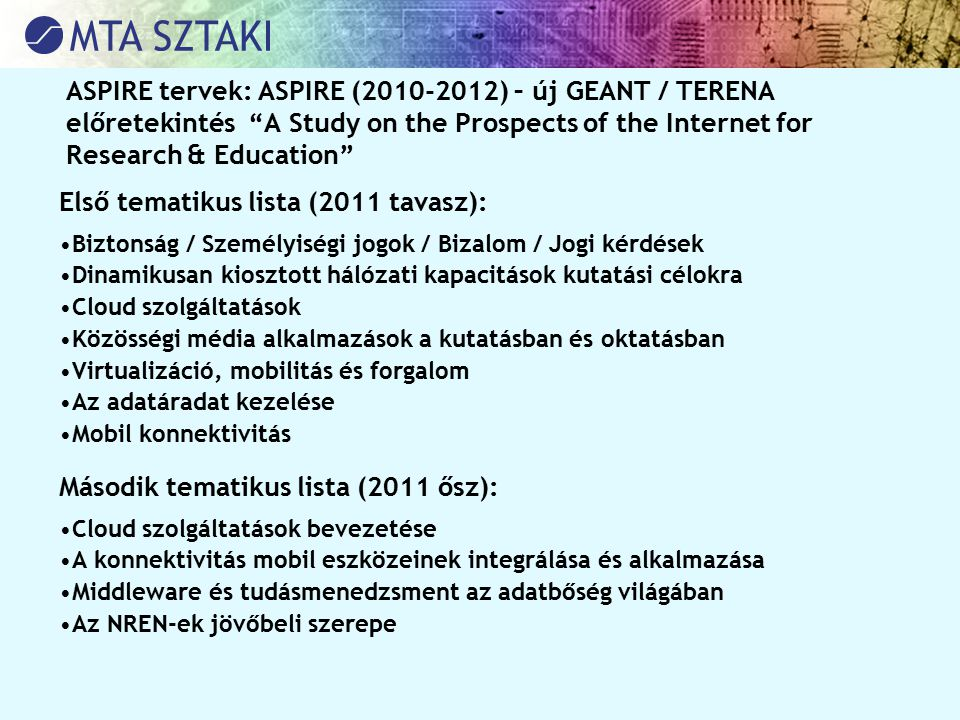 Első tematikus lista (2011 tavasz):