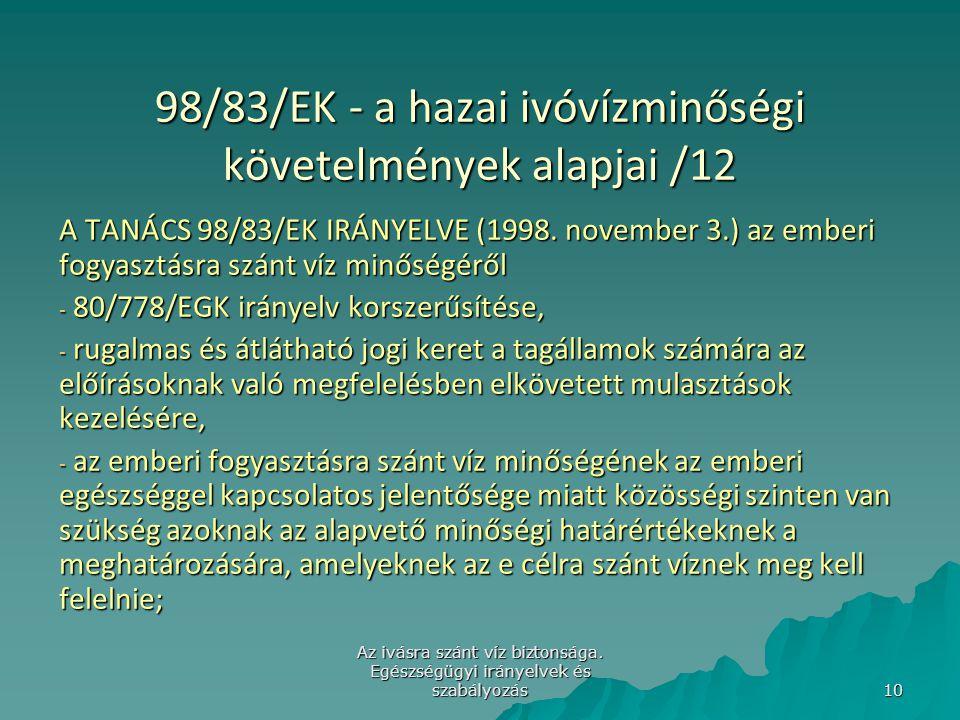 98/83/EK - a hazai ivóvízminőségi követelmények alapjai /12