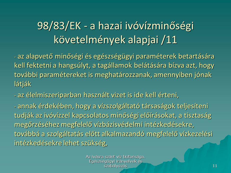 98/83/EK - a hazai ivóvízminőségi követelmények alapjai /11