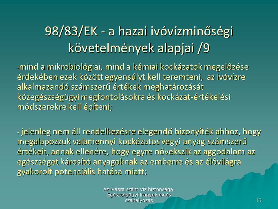 98/83/EK - a hazai ivóvízminőségi követelmények alapjai /9