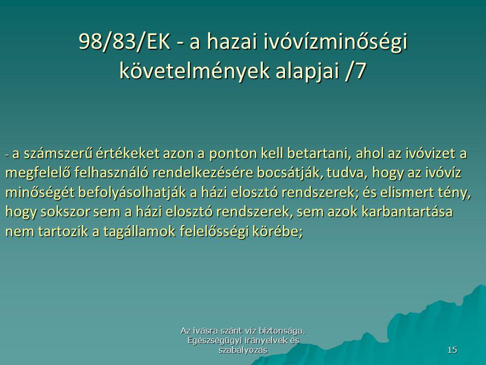 98/83/EK - a hazai ivóvízminőségi követelmények alapjai /7