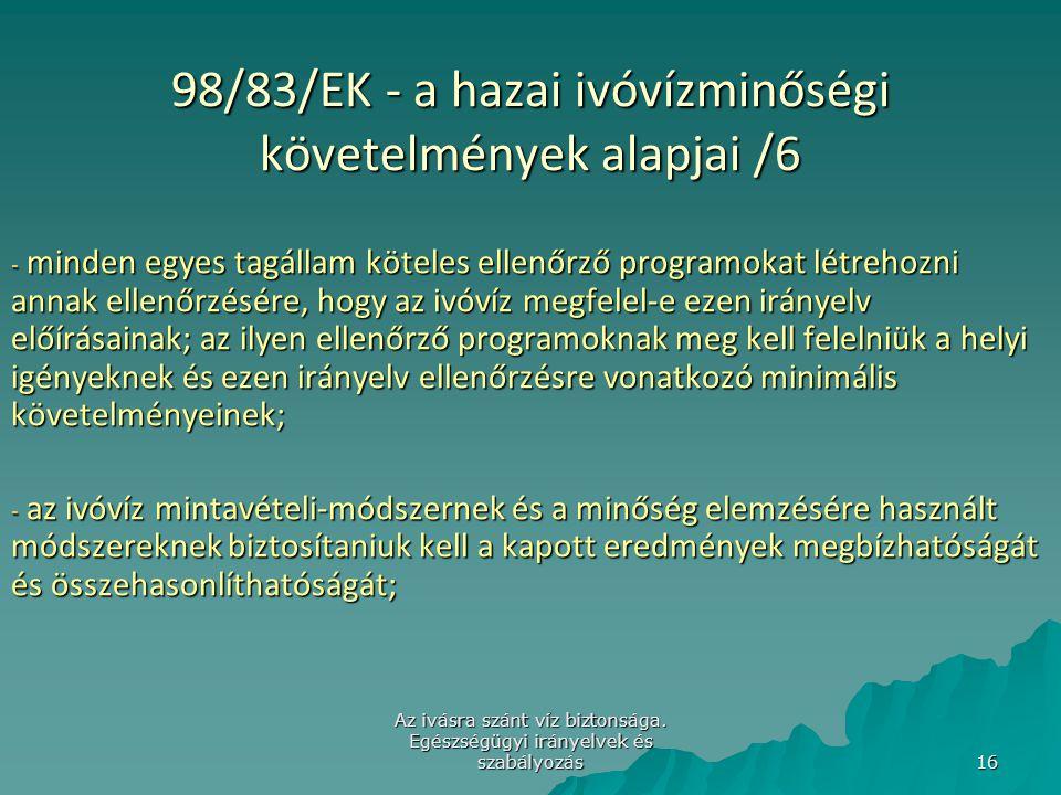 98/83/EK - a hazai ivóvízminőségi követelmények alapjai /6